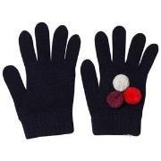 Il Gufo Navy and Multi Pom Pom Knit Gloves T3 (6 months)