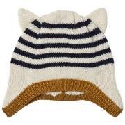 Emile et Ida Striped Hat with Ears Ecru 3 mnd
