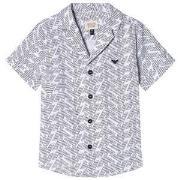 Emporio Armani White and Black Pattern Short Sleeve Shirt 14 years