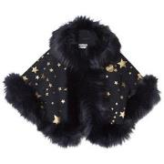 Bandit`s Girl Navy Star Print Faux Fur Cape M (6-7 years)
