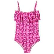 Melissa Odabash Pink Heart Print Ivy Frill Front Swimsuit 2 years