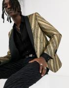 Twisted Tailor super skinny blazer with shawl collar in gold stripe