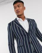 Lockstock Ascot stripe suit jacket in navy pinstripe