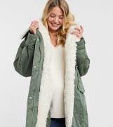 ASOS DESIGN Maternity waterfall parka with borg lining in khaki-Green