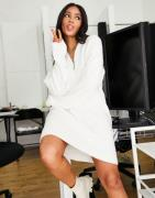NA-KD x Jasmin Azazim knitted mini dress with zip front in off white