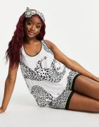 DKNY cami short and eyemask set in cheetah print-White