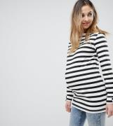 Supermom Maternity Stripe Long Sleeve Top With Back Zip-Black