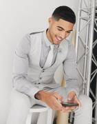ASOS DESIGN wedding skinny suit waistcoat in brushed twill in ice grey