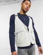 ASOS DESIGN harness gilet with utility pockets in stone-Neutral